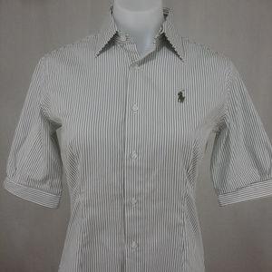 Ralph Lauren Button Up Shirt Poplin Striped Pony